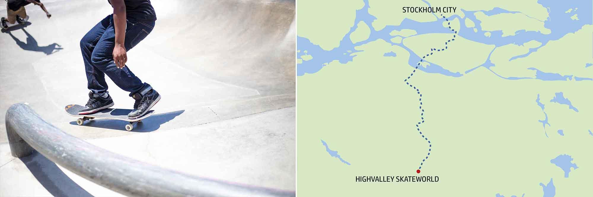 Highvalley Skateworld, färdväg