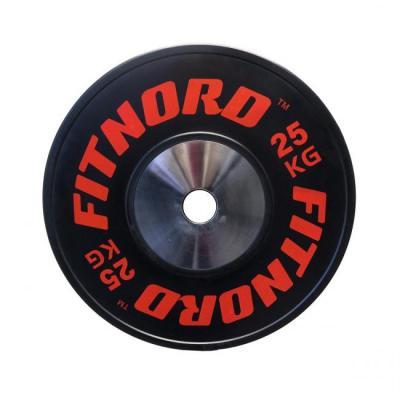 Tävlingsviktskiva 25 kg, PRO Bumper Plate, FitNord