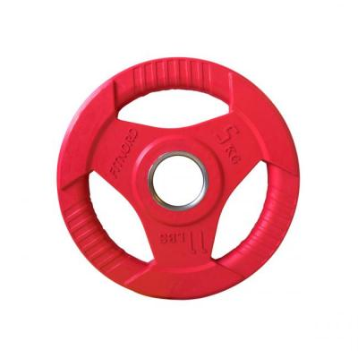 Viktskiva 5 kg, FitNord Tri Grip Olympic, röd
